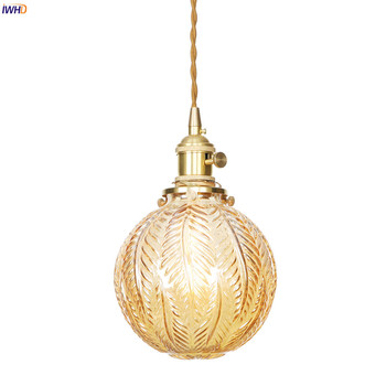 IWHD LED Glass Lampshade Pendant Lights Retro Copper Nordic Hanging Lights Pendant Lamp Switch Vintage Hanglamp Home Lighting