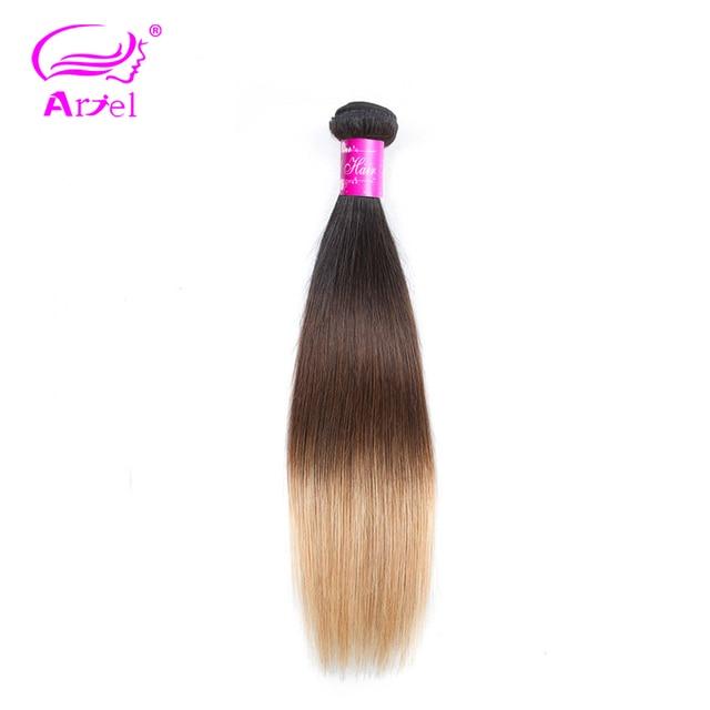 Ariel 1 pieza paquetes de pelo lacio brasileño Rubio paquetes de cabello humano Ombre 1 b/4/27 Remy brasileño paquetes de armadura de cabello