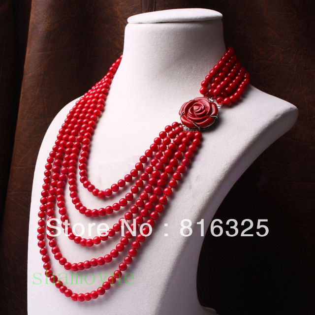 Pretty red coral bead beaded multi 5 row carved rose flower silver necklace