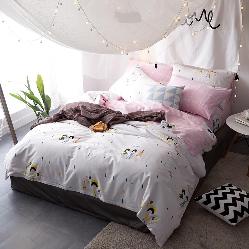 cute girls white 34pcs twin queen king size bedding soft cotton linens duvet cover set cartoon style bedding sets - Spongebob Bedroom Set