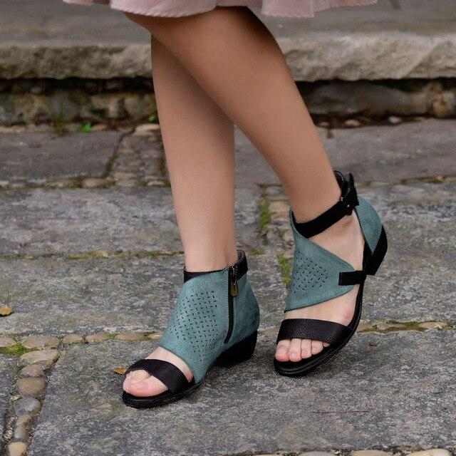 2017 Women Roman Sandals Peep Toe Summer Ladies Sandals Low Heel Hollow Out Genuine Leather