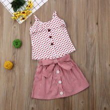 Toddler Kids Baby Girl Outfit Set Stripe Tops T Shirt Skirt Dress Summer Clothes цена в Москве и Питере