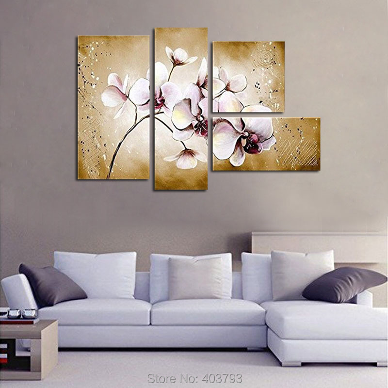 Hand Painted On Canvas Hot Sale Unique Gift Pure Flower Oil Painting 4 pieces Unframed Landscape For Living Room Home Wall Decor in Painting Calligraphy from Home Garden