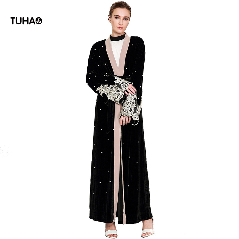 TUHAO Autumn Long-sleeved Beading Lace Stitching Velvet   Trench   Women Open Stich Cardigan Outerwear With Sashes Robe Femme TB1593