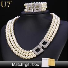U7 boda de la perla simulada de la joyería para las mujeres del partido rhinestone de múltiples capas de señora necklace sets s744