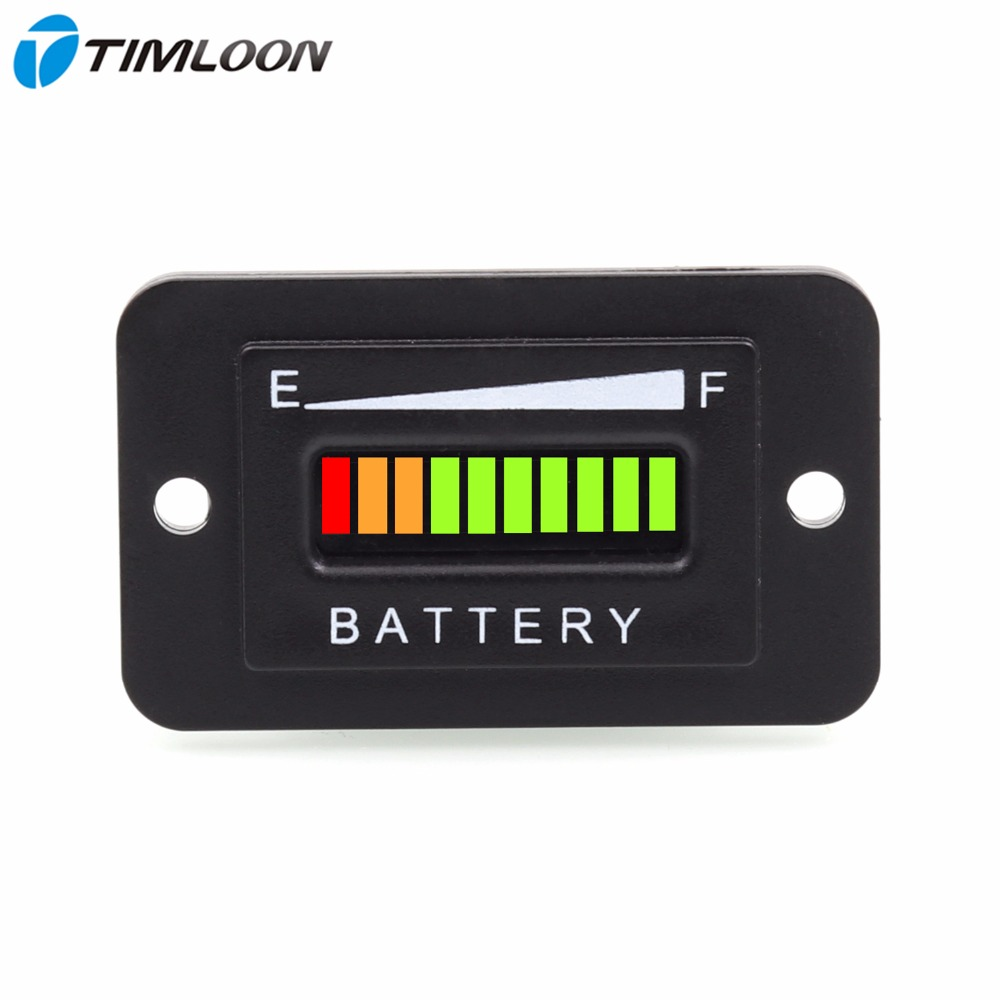 10 Segment LED 12V 24V 36V 48V 72V Battery Indicator Meter Gauge Coulombmeter For Golf Cart,Yacht,RV,Motorcycle,Forklift Etc.