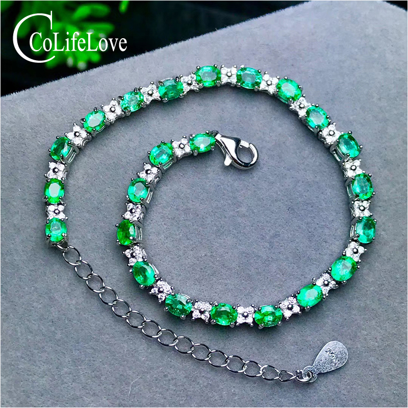 23 pieces natural emerald bracelet for wedding 3 mm * 4 mm oval cut emerald silver bracelet 925 sterling silver emerald jewelry цены