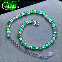 23 pieces natural emerald bracelet for wedding 3 mm * 4 mm oval cut emerald silver bracelet 925 sterling silver emerald jewelry
