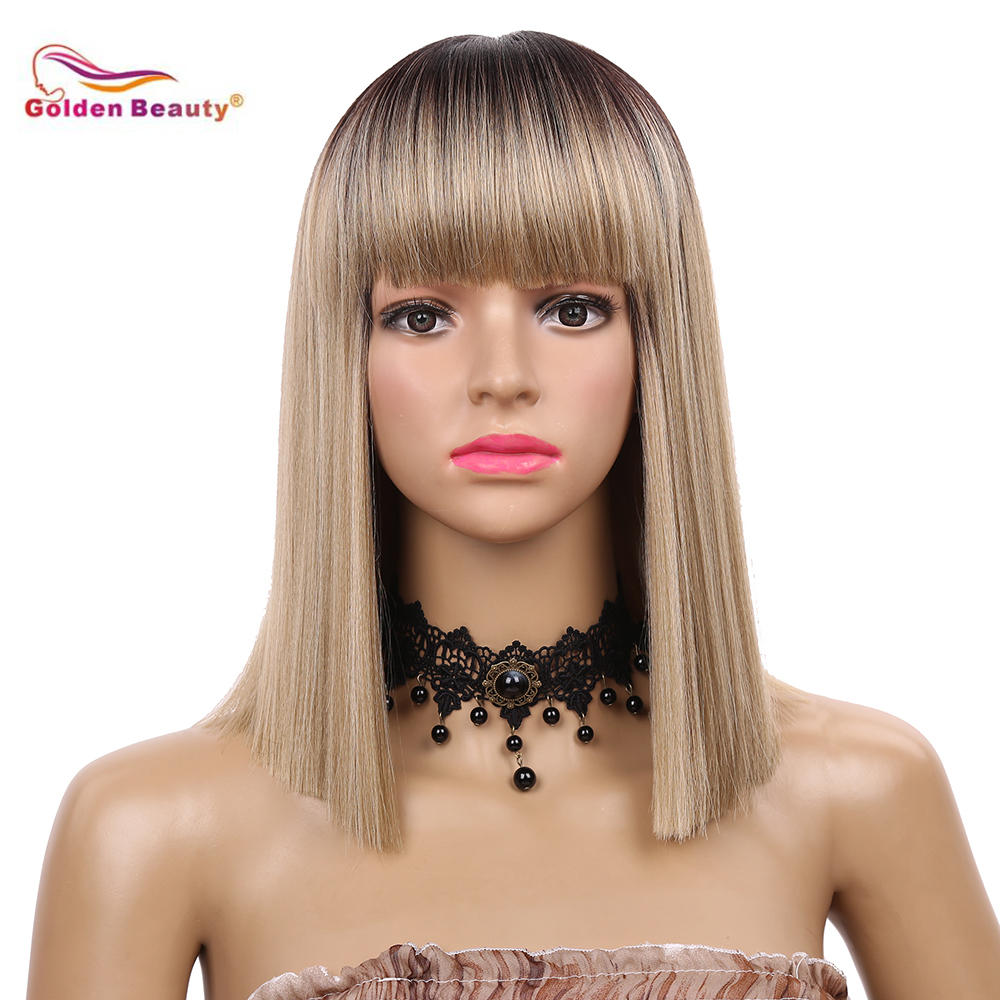 Short Bob Wig with Neat Bangs Straight Full Hair Wigs Heat Resistant Synthetic Fiber Daily Cosplay Party Wig Golden Beauty