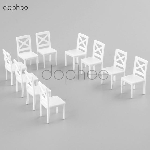 dophee 10pcs White chair model 1:25 interior decoration ornaments ...
