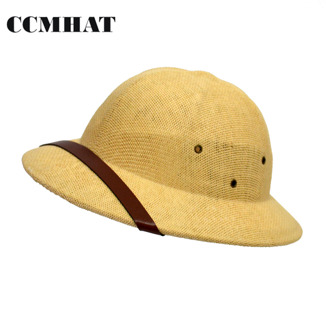 CCMHAT Novelty Helmet Pith Straw Hats For Men VC Vietnam War Army Sun Hat  Caps Beach Sommerhut Outing Panama Paper Straw Hats 52d7afcdded