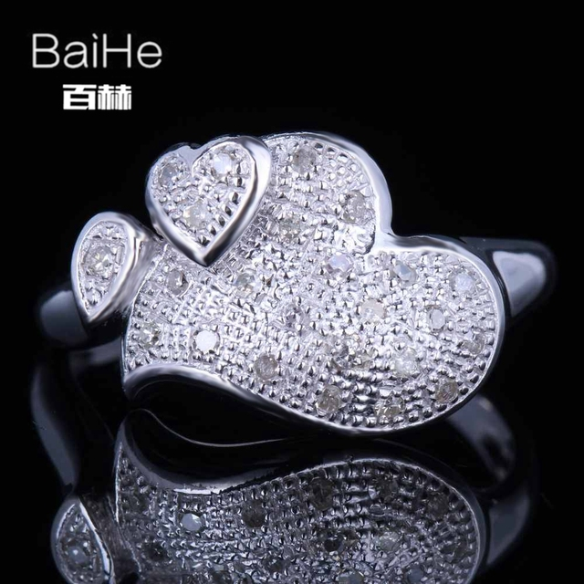 BAIHE Sterling Silver 925 0.2CT Certified H/SI Round 100% Genuine Natural Diamonds Engagement Women Classic Fine Jewelry Ring