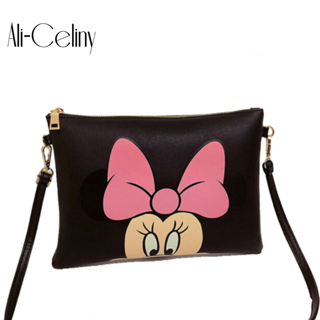225660789 Women Hello Kitty Messenger Bag Minnie Mickey Bag Leather Handbags Ladies  Cartoon Clutch Bag Bolsa Feminina Bolsa Female Handbag