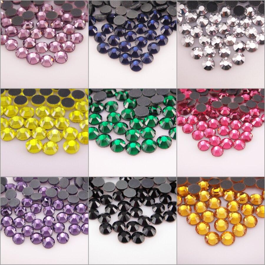 Стразы горячей фиксации, Стразы для одежды, стразы для дизайна ногтей, высокое качество, SS6, SS10, SS16, SS20, SS30, стеклянные кристаллы AB, камень горя...