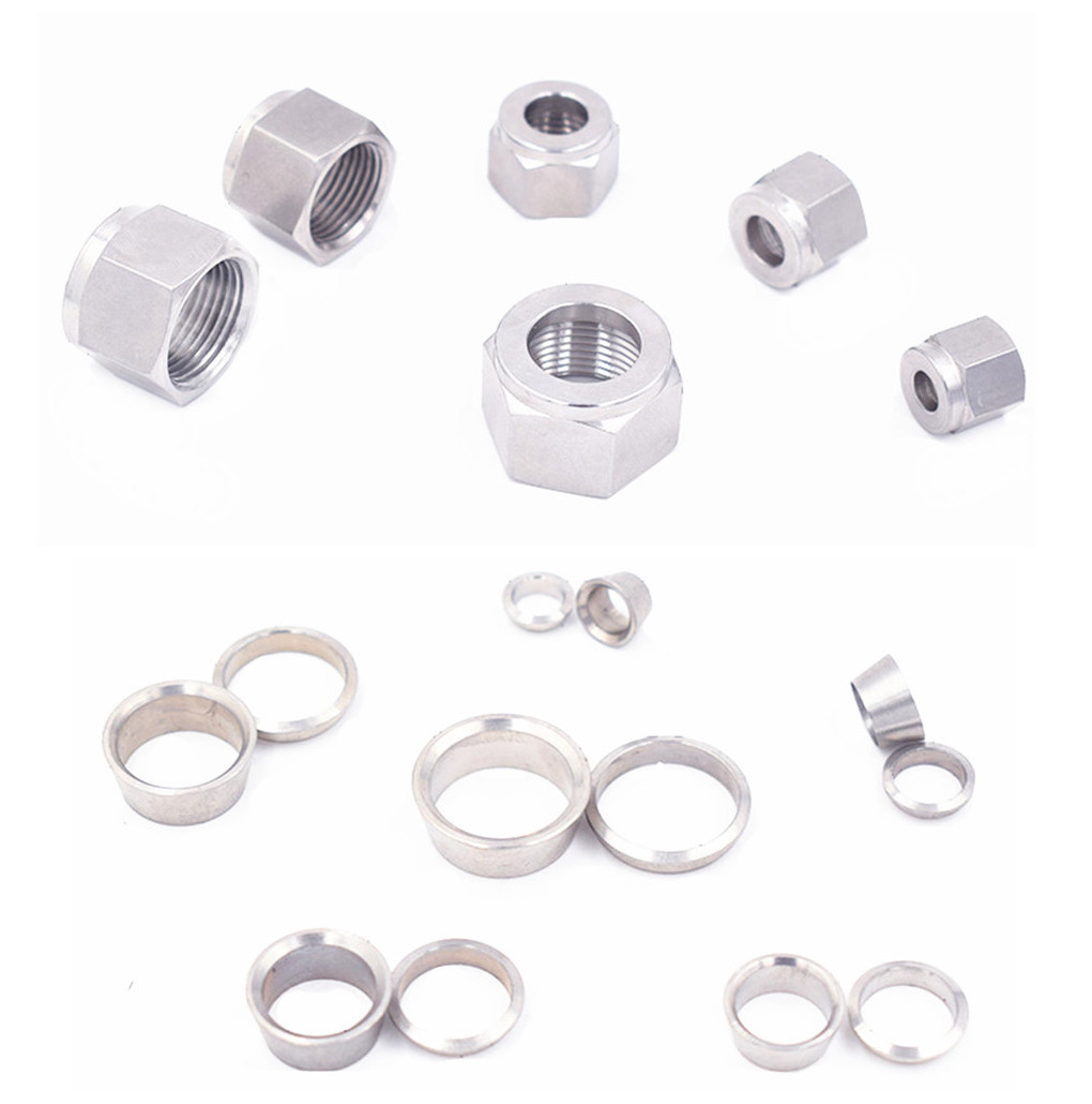 SS 304 Stainless Steel Double Ferrule Compression Connector 6mm 8mm 10mm 12mm 14mm 16mm Tube Parts Double Ferrule Nut