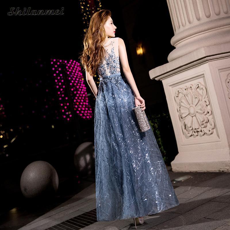 Sans Élégant De Couleur À Soirée xxl Vintage Xs Paillettes Mode Femme Robe Bleu Manches Longue Femelle Et Gris HED29I