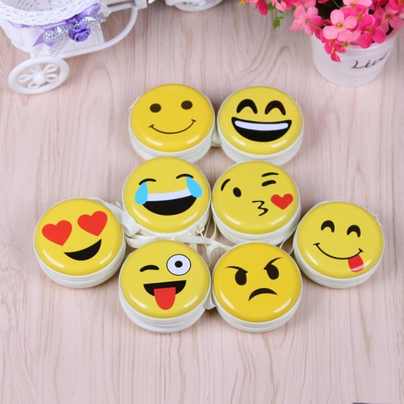 Emoji coin purse Cute Portable Coin Purse Keyring Pouch Wallet Earphone Headphone Earbud Carrying Boxes Purse Case F20172628