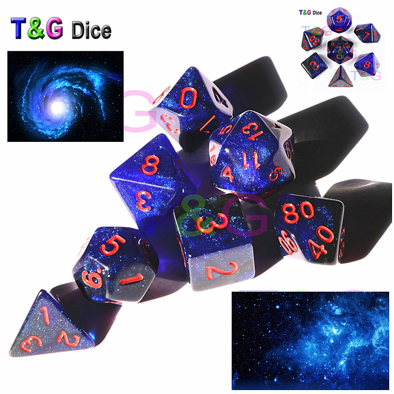 T&G Creative Universe Galaxy Dice Set of D4-D20 with Mysterious Royal Blue Mix Black,Glitter Powder Amazing Effect for TRPG,DND amazing universe