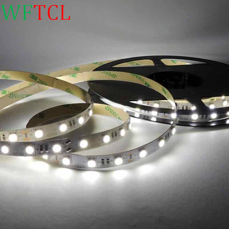 WFTCL 300Units SMD5050 LEDs Flexible LED Strip Lights 6000K Daylight White Non-waterproof 12 Volt LED Tape Light Pack of 5M roll