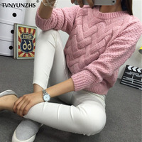 Pull Femme 2017 Autumn Winter Women Sweaters And Pullovers Plaid O Neck Thick Knitting Mohair Sweater