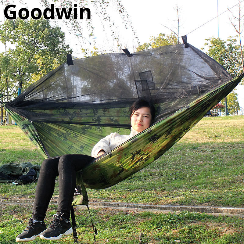 Outdoors Camping Hammock With Mosquito Net RipStop Nylon Lightweight Bug Free Hiking Backpacking Portable Double Reversible