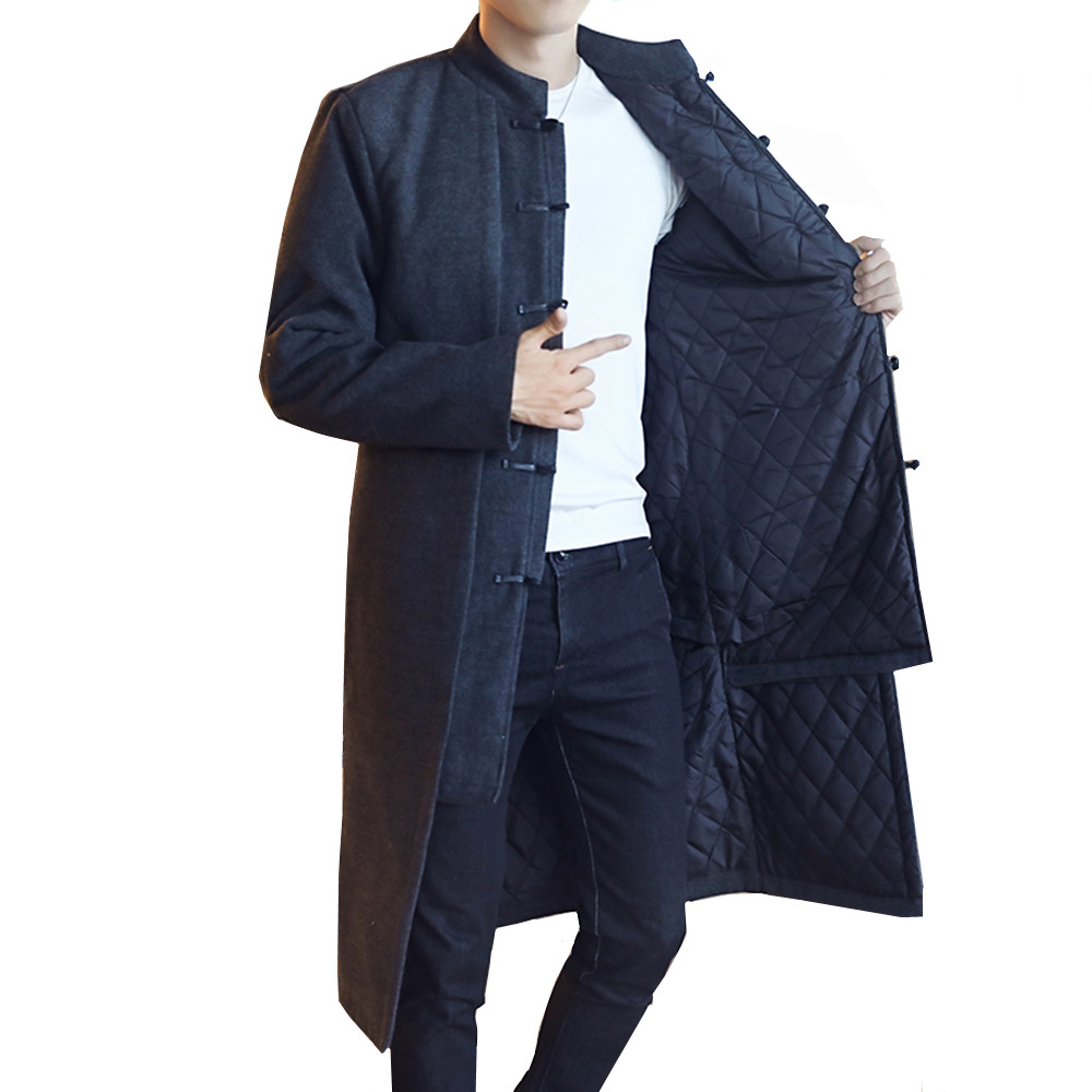 Chinese Style   Trench   Men's Retro Jacket Long Section Windbreaker Winter & Autumn Large Size Embroidery Warm Thick woolen coat