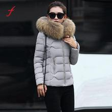 FEITONG Women's down jacket Fashion Solid Female Casual Thicker Winter Slim Down Jacket Coat Overcoat Solid Hooded Outwear coat