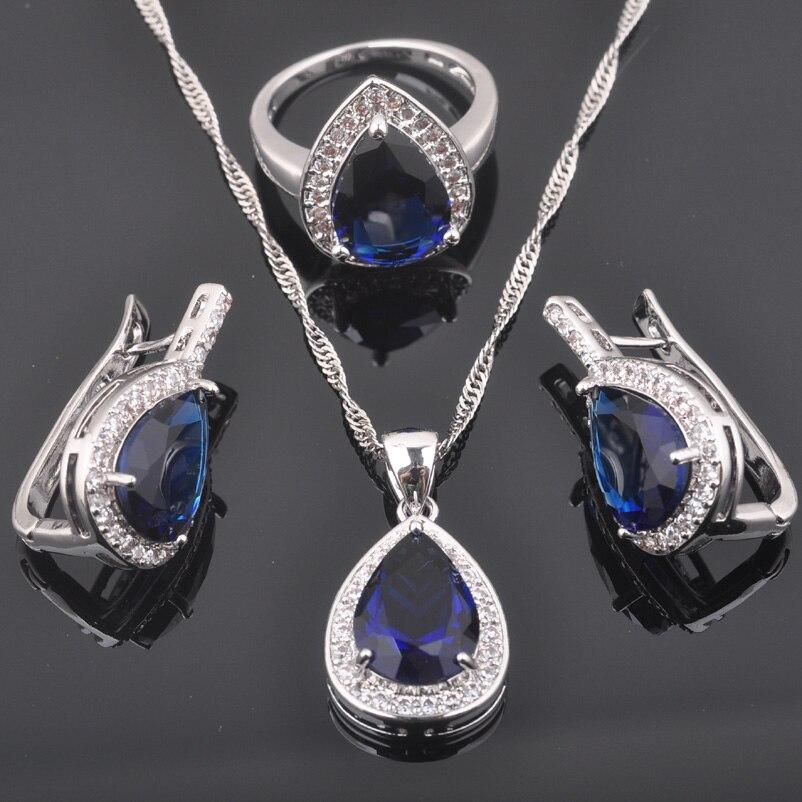 2019 Neuer Stil Fahoyo Blau Zirkon Wassertropfen Frauen 925 Sterling Silber Schmuck Sets Ohrringe/anhänger/halskette/ringe Freies Verschiffen Qz0355 Verkaufsrabatt 50-70%