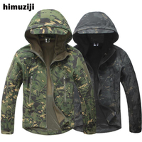 TAD Winter Shark Skin Military Jacket Windproof Tactical Softshell Coat Men Waterproof Windbreaker Hooded Army Camouflage Clothe