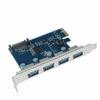 Adaptateur PCIE vers 4 ports USB 3.0 PCI-e PCI Express USB 3.0 4 ports HUB 5.0 Gbps 19Pin FL1100 chipset Support WIN10 WIN8 MAC OS