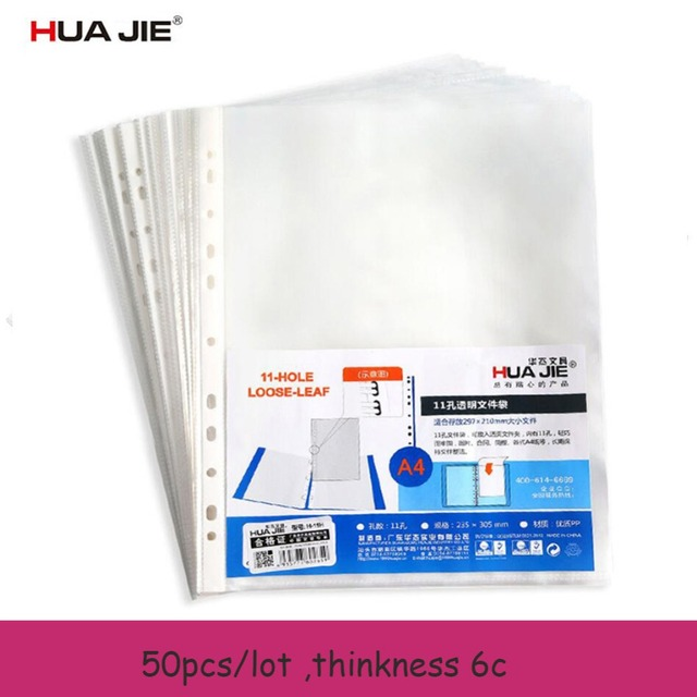 hua jie 50pcs lot 11 hole clear sheet protectors a4 file page top