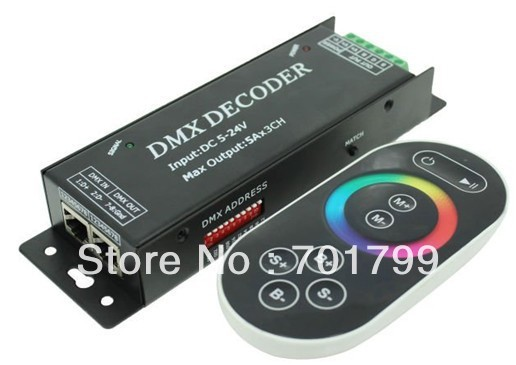 led dmx constant voltage decoder, with RF touch remote,DC5-24V input,max 5A*channel output