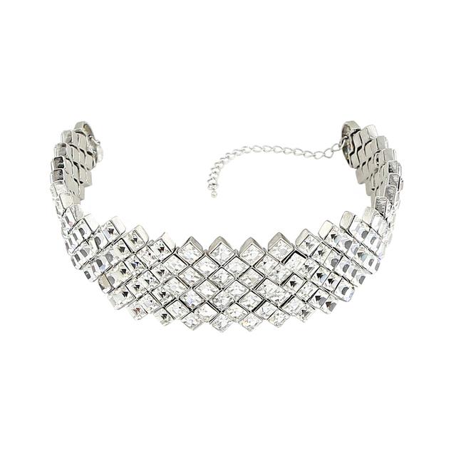 Trinketsea nuevo tono de plata de lujo de moda choker collar para las mujeres joyería declaración del banquete de boda de la chispa de cristal de cristal