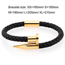 Bracelet for Men genuine leather and stainless steel gold nail