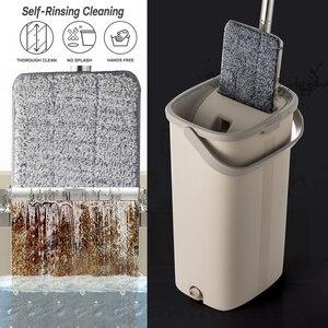 Image 3 - Squeeze Hand Free płaski Mop wiadro z uchwyt ze stali nierdzewnej Wet Dry do czyszczenia podłóg 360 obrotowe głowice z wielokrotnego użytku wkłady do mopa