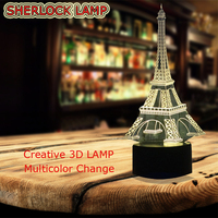 WHOLESALE Romantic France Eiffel Tower 3D USB LED Lamp RGB Touch Remote Controller Mood Night Light