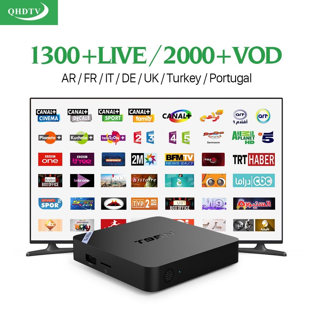 T95N Android 6.0 TV Box 2/8 GB con 1300 Canales de IPTV QHDTV para Europa Italia