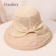 Summer women Big Bow Sun Hats For Women Spring Foldable Wide Brim Beach Caps Lady Casual Fisherman Hat Bucket