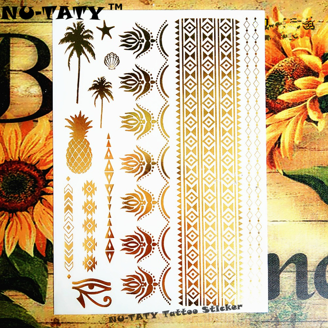 Nu-TATY Large Golden Coconut Tree Pineapple Temporary Tattoo Body Art Flash Tattoo Sticker 21x15cm Waterproof Henna Tato Selfie