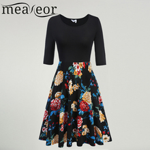 Meaneor Ladies Large Swing  Pleated Dress Medium Sleeve Retro 60S 70S Vintage Dress Floral Print Slim Casual Party Vestidos