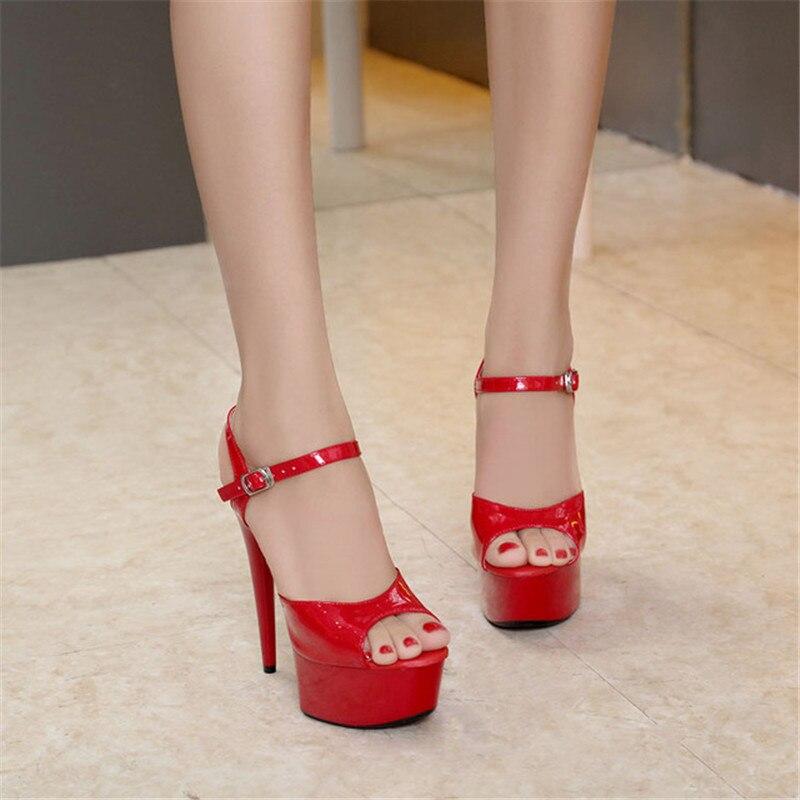 Pescado Cm T Sandalias taiwán Zapatos 2019 Mujer Novia Mostrar Alto Coche Con Negro Pasarela Nuevo Tacón Modelos Sexy Femeninas rojo Boca blanco De 15 wUUXO7vq