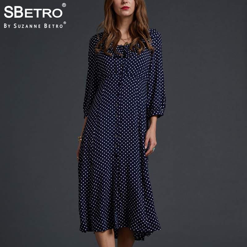 2e01922a313 SBetro By Suzanne Betro Dresses Women Taupe Pokdot Print Ruffle Trim V-neck  Button Front