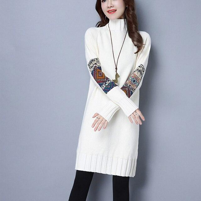 e2875bf3999 Crochet Turtleneck Dress Long Sleeve Tunic Winter Dress Women Knitted  Sweater Party Dresses 2018 Patchwork Vestidos Robe Femme