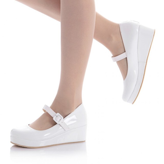 b5344453d3b women princess shoes round toe wedges office lady work single shoes plus  size 40 - 43 cute high heel lady nurse shoes