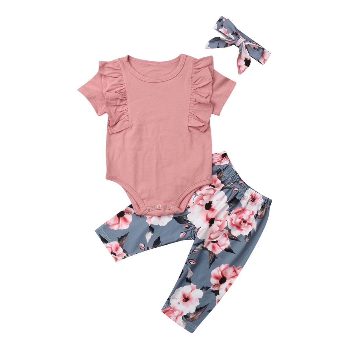 0-24M Newborn Kid Baby Girls Short / Long Sleeve Top Romper Floral Pant 3PCS Sunsuit Outfit Set