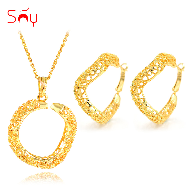 Sunny Jewelry Cute Romantic Wedding Jewelry Sets Twisted Flower Exquisite Jewelry For Women Necklace Earrings Pendant For Party