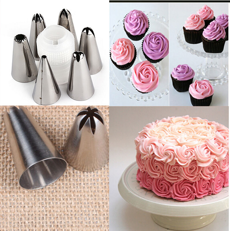 Hot 6 Pcs Stainless Steel Cake Decorating Icing Pastry Piping