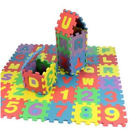 36Pcs/1set Puzzles Toys EVA Foam Mat Alphabet Letters Numbers Puzzle Children Intelligence Development Bath Water Floating Toy