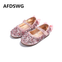 AFDSWG spring and autumn PU waterproof pink bowknot kid shoes children girls golden children leather shoes girl shose(China)