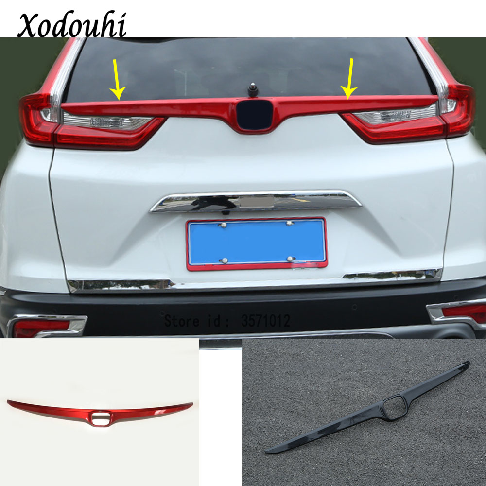 Car styling cover carbon fiber/ABS Rear logo door tailgate frame plate trim stick trunk parts 1pcs For Honda CRV CR V 2017 2018